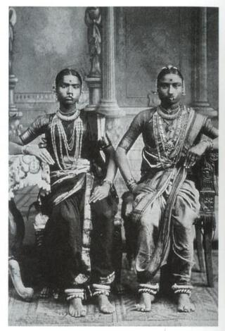 A photograph of two Devadasis taken in 1920s Chennai in India
