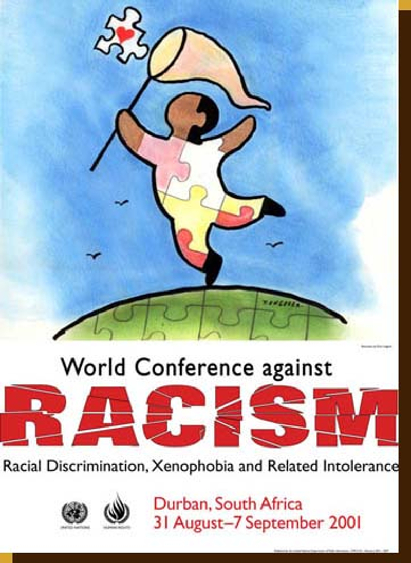 Promotional poster for World Conference Against Racism, 2001